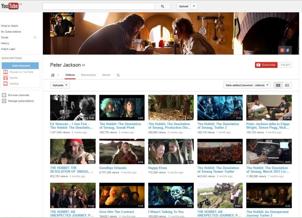 YouTube Channel of Peter Jackson/ WingNut Films (c) YouTube, WingNut Films