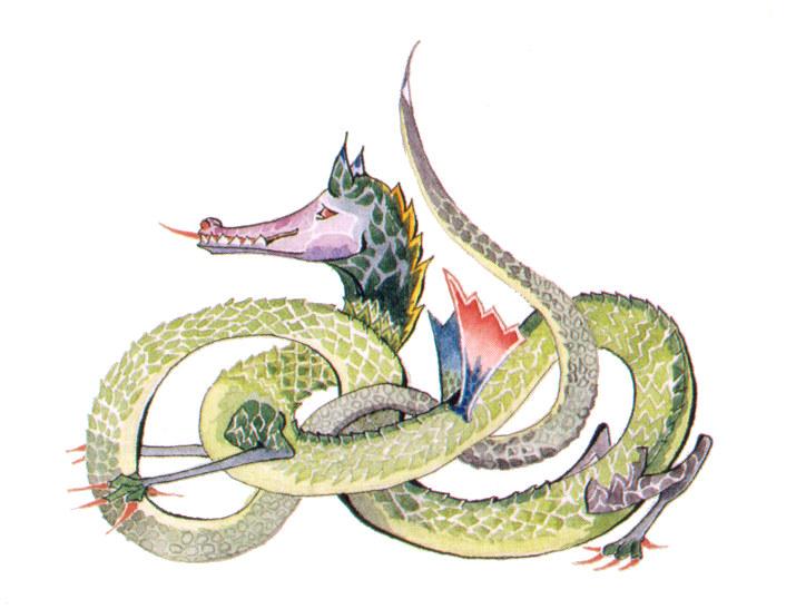 J.R.R. Tolkien dragon design (c) Tolkien Trust