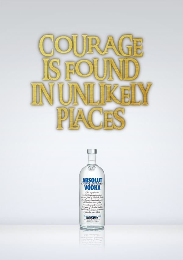 Courage is found in unlikely places. Valerio Amaro (c). Absolut Vodka
