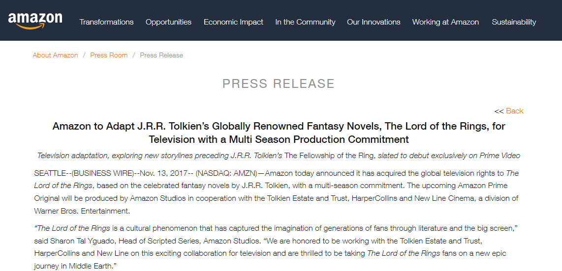 "Amazon Studies announce ""LotR"" television series"