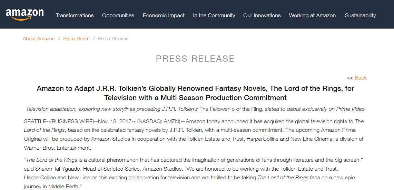 "Amazon Studies announce ""LotR"" television series"