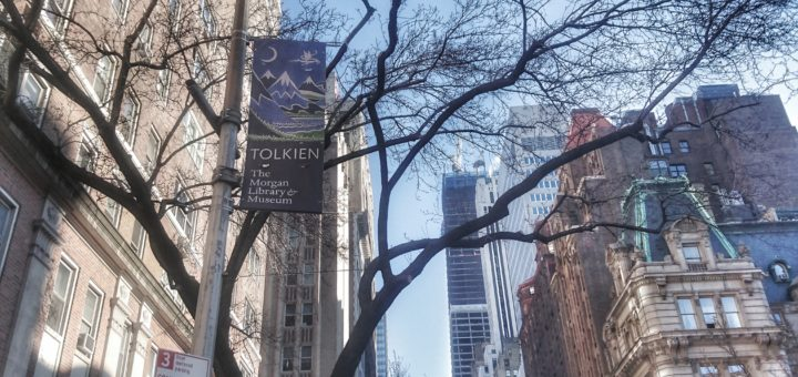 Tolkien: Maker of Middle-earth banner on Park Avenue, across from Morgan Library & Museum