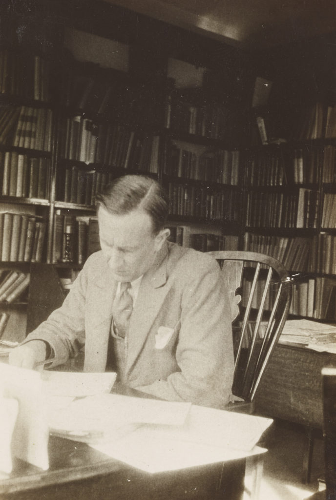 J.R.R. Tolkien in his study, ca. 1937, black and white photograph. Tolkien Trust, MS. Tolkien photogr. 5, fol. 94. © The Tolkien Trust 2015.