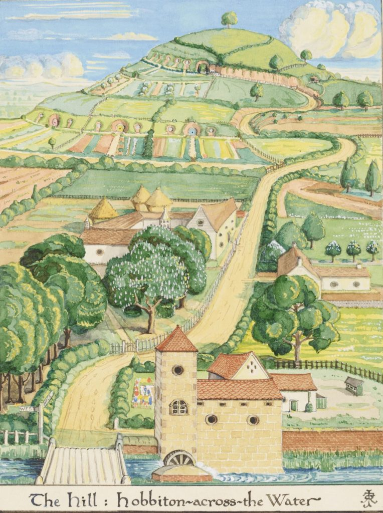 J. R. R. Tolkien (1892–1973), The Hill: Hobbiton-across- the Water, August 1937, watercolor, white body color, black ink. Bodleian Libraries, MS. Tolkien Drawings 26. © The Tolkien Estate Limited 1937.