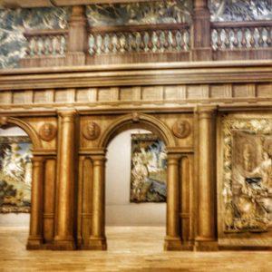 Part of the exhibition at Cité International de la tapisserie. 'illusion' of stately home hangings