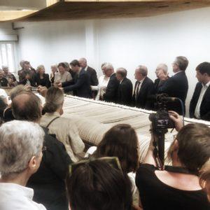 Tombée de métier, cutting of the loom ceremony, Sept 11, 2019, on The Trolls, Cité Internationale de la tapisserie