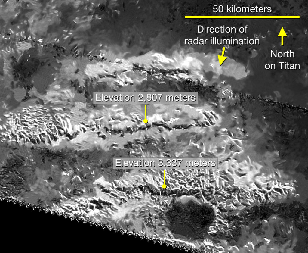 Mithrim Mountains/ Titan. NASA/JPL-Caltech/ASI