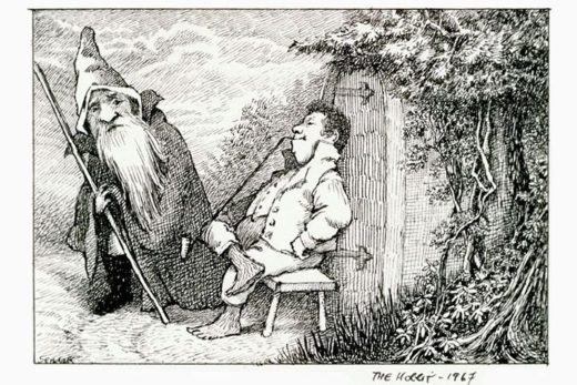 [Study of Bilbo Baggins and Gandalf] (c) Beinecke Rare Book & Manuscript Library et al.
