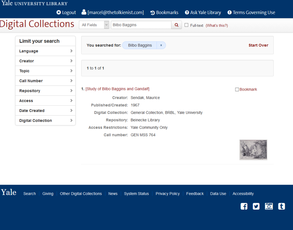 Yale University Library database entry for [Study of Bilbo Baggins and Gandalf]
